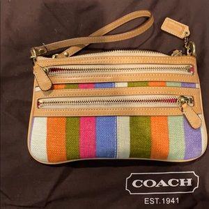 Coach stripe wristlet - large